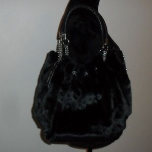Olivia & Joy Handbag Purse Faux Fur Chain Details
